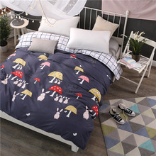 Cartoon duvet cover mushroom rabbit yellow red blue white printing plaid twin full queen king size cotton blanket quilts cover(China)