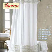 White Lace Polyester Shower Curtains Thickening Hotel With Shower for Bathroom Hooks Are Given Custom Art Shower Drape WP023 *30
