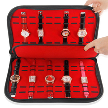 TONVIC Wholesale Black Leatherette Red Velvet Watch Display Tray Bag For 20 Pcs TVA-RYC-388(China)
