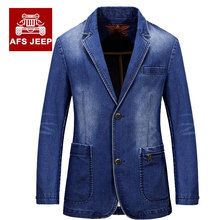 MEBOSYA 2016  Mens Brand Clothing Denim Blazers Jacket Plus Size M~3XL Blue Jean Coat Slim Fit Casual Overcoat AFS JEEP Cotton