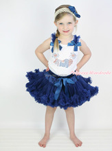 4th July Patriotic Rhinestone USA Flag Heart White Pettitop Top Shirt  Navy Blue Bow Pettiskirt Dress Set 1-8Y MAPSA0527
