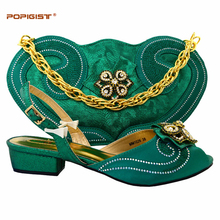 Low heel comfortable shoes green color in Italian shoes and bags matching set African ladies shoes female shoes with bag