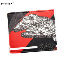 FVIP Men's Short Wallet Star Wars Coin Purse TIE Tnterceptor Millennium Falcon Print Cool Wallets Free Shipping(China)