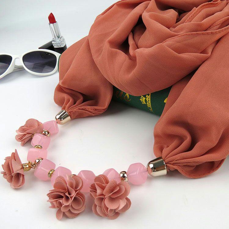KMVEXO 2018 Autumn Winter New Geometric Beads Necklaces Flowers Pattern Wrap Statement Scarf Necklace For Women Bohemian Jewelry 5