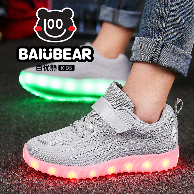 high quality luminous Shoes for Kids Sneakers Fashion USB Charging Lighted 7 Colorful lights  Shoes Casual Flat Girls Boy Shoes<br>