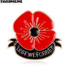 XIAOJINGLING New Hot UK Style Lest We Forget Alloy Red Enamel Flower Poppy Broach Banquet Badge Brooch Pin Rememberance Day Gift