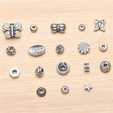 Tibetan silver accessories septa serrated beads small butterfly crystal beads gasket DIY jewelry material flower care 1pcs(China)