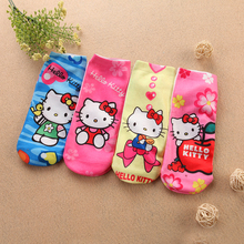 4pairs/lot Cotton Baby Socks toddler calcetines novelty  children cartoon  girls kids Hello Kitty 3D printed Brand ankle Socks