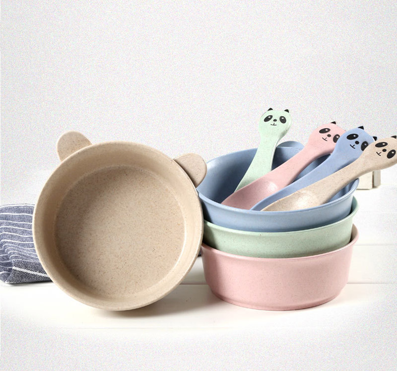 2 PcsSet Baby Feeding Food Tableware Panda Wheat Kid Dishes Eco-Friendly Children Training Dinnerware Plate Bowl Spoon BB5088 (10)