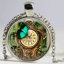 (1 pieces/lot) Steampunk Garden Clock Pendant Necklace Butterfly Necklace Garden Retro Vintage Steam Punk Necklace Accessories(China)
