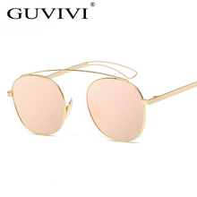 2017 Summer GUVIVI Round Sunglasses Women Pink Hollow Out Leg Fishing Sun glasses Lunette De Soleil Femme De Marque De Luxe(China)