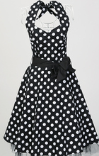 dress boho chic american style vintage black white polka dot cotton a line online stores shopping clothing for women(China)