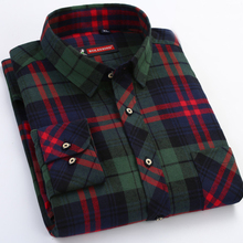 Brand Men Plaid Flannel Shirt 100% Cotton Spring Autumn Casual Long Sleeve Shirt Soft Comfortable Regular Fit Styles Clothes(China)