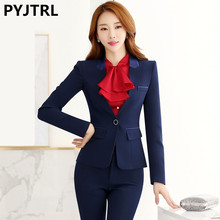 PYJTRL Autumn Winter 2 Piece Set Women Elegant Business Skirt Suits Long Sleeve Suit Satin Collar Office Uniform Style(China)