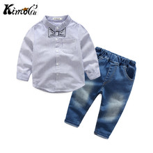 Kimocat new arrivals In spring and autumn, the new boy's set  long-sleeve striped gentleman lapel shirt + casual denim pants