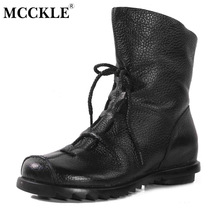 MCCKLE 2017 Women Fashion Vintage Genuine Leather Shoes Female Spring Autumn Platform Ankle Boots Woman Lace Up Casual Boots(China)