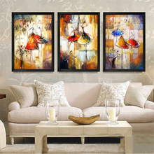 2017 Hot Sale Fashion Dance ballet Girls print painting on canvas oil paints for kids room(China)