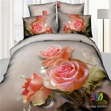 100% Cotton 3D Bedclothes 4pcs Bedding Sets  King Or Queen Pink Rose Flower Reactive Print