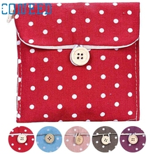 Hot Product Polka Dot Organizer Storage Hold Sanitary Napkin Girl Cotton Diaper Sanitar Korean Style Storage Bag Hot feb14