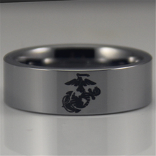 YGK Free Shipping YGK JEWELRY Hot Sales 8MM Silver Pipe Army Ring USMC Design Men's Tungsten Comfort Fit Ring