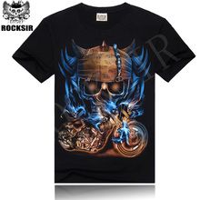 Buy 2015 New Fashion Men's Short Sleeve Cotton Black t shirt Unique Men Skull Printed T shirt Men's T-Shirt designer clothes for $7.19 in AliExpress store