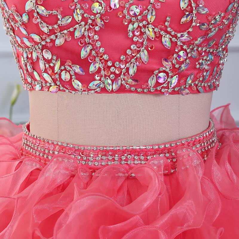 coral 2 piece quinceanera dresses 2016