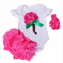 New Summer Baby Girl Clothing Cotton Rose Flower Short Sleeve Rompers And Ruffle Bloomers Newborn Infant Girls Clothes Sets