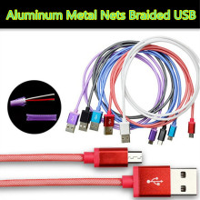 1M Aluminum Metal Nets Braided Micro USB Charger Data Sync Cord For Samsung Xiaomi Android phone Charging cable