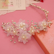 Korean Style Drilling Alloy Women Hairpiece Rhinestone Bridal Hair Accessories Simulated Pearl Flowers Headband Jewelry RE267