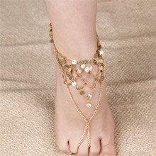 New Arrival Boho Womans Fringe sequins Sandals Anklet Ankle Bracelet Beach Foot Fashion Jewelry Chain 1PC(China)