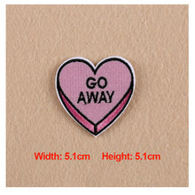 "1PC Patches For Clothing Embroidery Pink Heart Text "" GO AWAY"" Patches For Apparel Bags DIY Accessories"