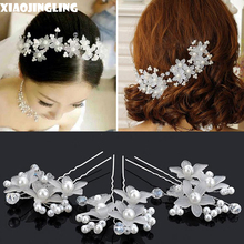 XIAOJINGLING Pearl Bridal Hair Accessories Flower Crystal Hair Clips Fashion Head Jewelry For Women Wedding Hair Combs Hairpins