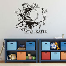 3D Baseball Kid Name Personalised Wall Sticker Sport Art Removable Decorative Wall Decals