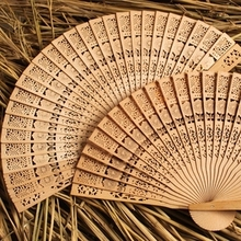 2017 Vintage Folding Bamboo Hand Fans Wooden Hollow Carved Wedding Dancing Bridal Party Decor Fragrant Sandalwood Fan free shipp