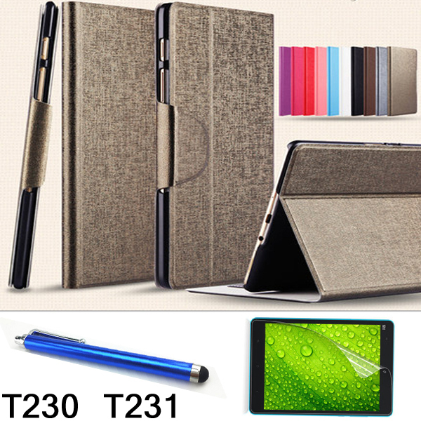 2014 newest Luxury Ultra-thin Smart Leather Cover Wallet Case for Samsung Galaxy Tab 4 7 T230 T231 T235+stylus+Protective film<br><br>Aliexpress
