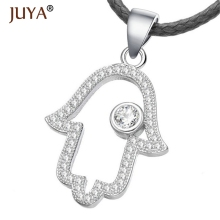 Gold Silver Plated Hamsa Fatima Hand Necklace Micro Pave Zircon Pendants Copper Metal Jewelry For Women Bijoux Colar Feminino(China)