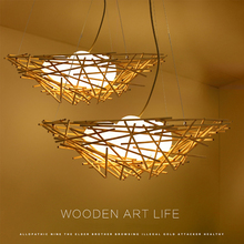 Nordic modern pendant light wood lamp + glass shade creative bird's nest hanging Led pendant light for kitchen dining room bar