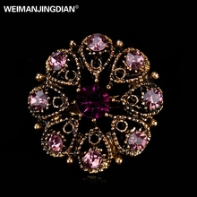 WEIMANJINGDIAN Brand Crystal Rhinestones Flower Small and Cute Brooch Lapel Pins for Women or Girls