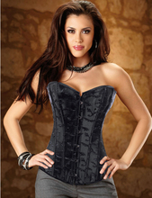 MOONIGHT Sexy Black Embroidery Overbust Burlesque Corset Top Basque Underwear Bustier Lingerie S M L XL 2XL