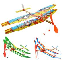 DIY Hand Throw Flying Glider Planes Elastic Rubber Band Powered Flying Airplane Plane Glider Assembly Model Toys For Children(China)