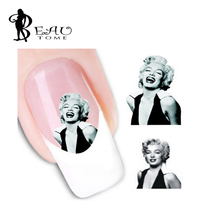 Beautome 1 Sheet Stylish Plum Blossom Marilyn Monroe Image Design Nail Art Water Decals Transfer Stickers for Beauty Tools(China)
