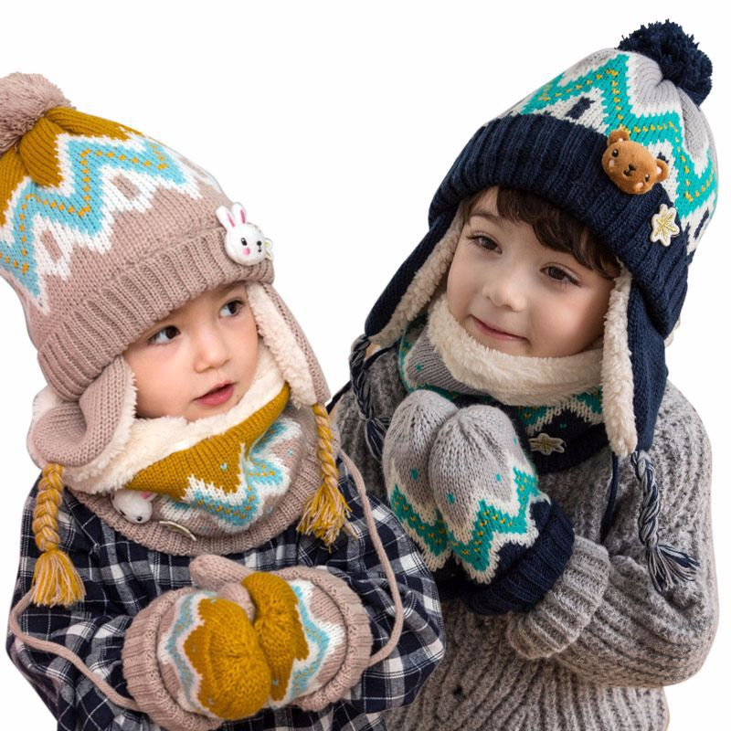 3Pcs Set Children Hat Scarf Gloves Set Warm Autumn Winter Newborn Baby Kids Caps