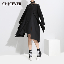 Buy CHICEVER 2018 Spring Black Irregular Women Dress Long Sleeve Loose Big Size Pullovers Vintage Dresses Female Clothes Fashion for $21.24 in AliExpress store