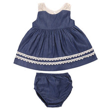 Summer Baby Dress Toddler Kids Baby Girls Fashion Sleeveless Lace Blue Princess Dress+Underpants Party Wedding Pageant Dresses(China)