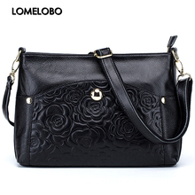 Lomelobo Luxury Ladies Bags Rose Print Real Leather Messenger bags Girls Designer Shoulder Sling bags bolsa feminina HBL178(China)