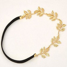 2017 elegant Beautiful Woman Girls Hair Accessory Gold Olive Leaves Leaf Stretchy Hair Head Band Grecian Style Trendy Trending