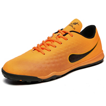 MAULTBY Men's Black / Orange TF Turf Sole Outdoor Cleats Football Boots Shoes Soccer Cleats #STF31703O(China)