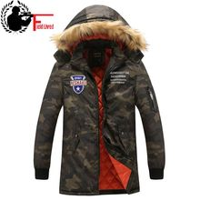 Camouflage Down Jacket Men Military Fur Hooded Parka Green Winter Casual Camo Coat Overcoat Long Fashion Outerwear Windbreaker(China)