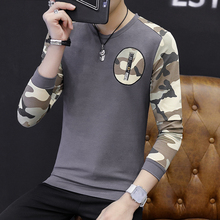2 Colors 5 Sizes Fall Men's Long Sleeves T-shirt Male Round Neck Camouflage Pattern Slim T-shirt(China)