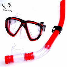 Swimming Gear Dive Scuba Anti-fog Goggles Protective Mask Glasses Diving Equipment Semi Dry Snorkel Set Red/Yellow(China)